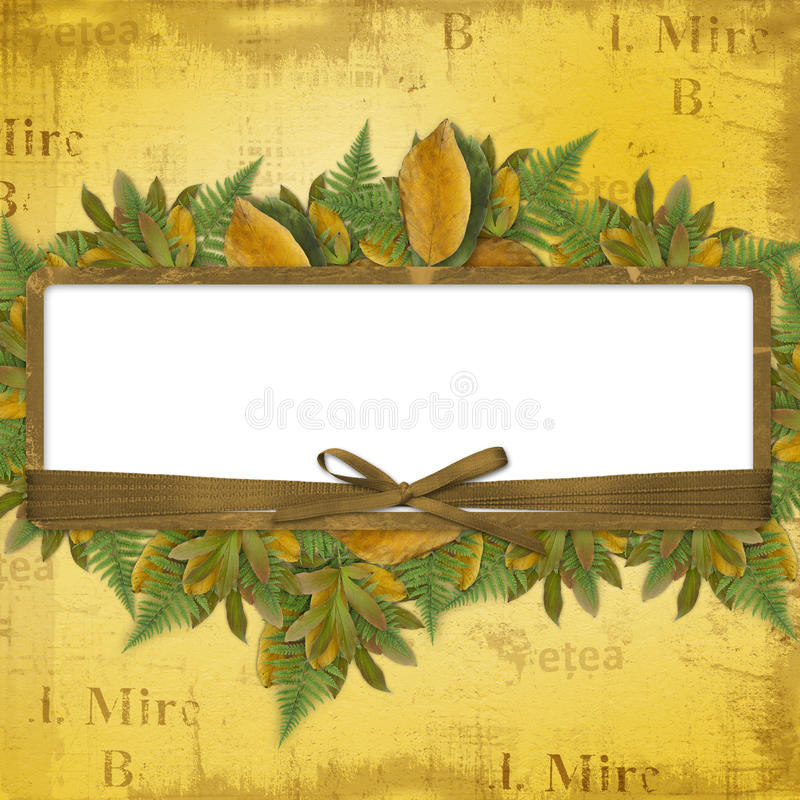 Grunge frame with ribbons and bow