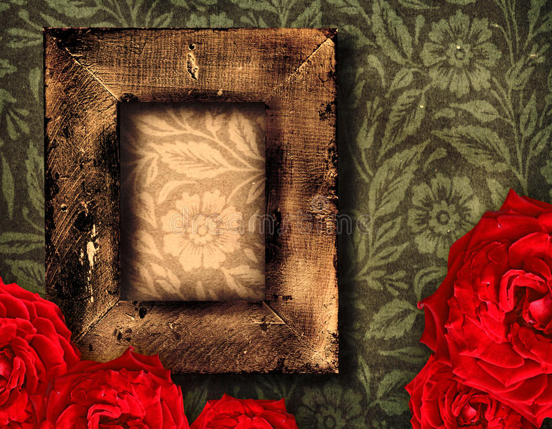 Grunge frame and roses. Grunge wallpaper with rustic frame and red roses royalty free stock image