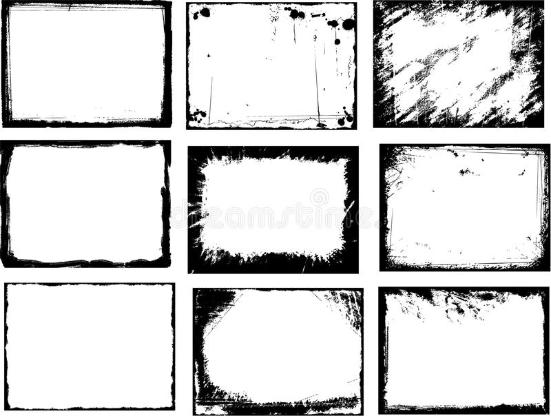 Grunge frame set stock illustration