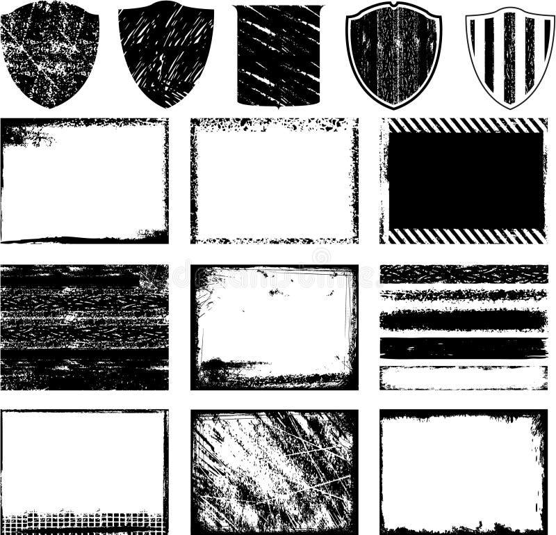 Grunge frames and backgrounds stock illustration