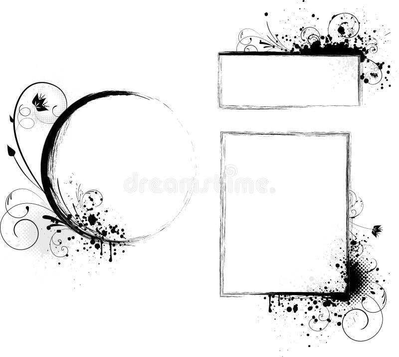 Download Grunge frames with florals stock vector. Illustration of blot - 18778949