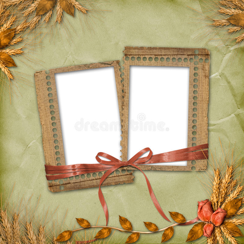 Grunge frames in scrapbooking style with bunch vector illustration