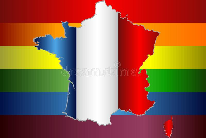 Grunge Francia y banderas gay stock de ilustración