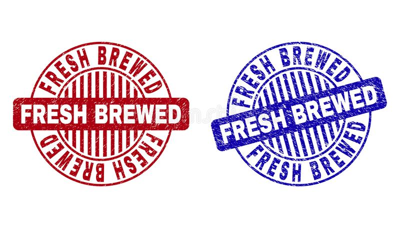 Grunge FRESH BREWED Textured Round Watermarks. Grunge FRESH BREWED round stamp seals isolated on a white background. Round seals with grunge texture in red and vector illustration