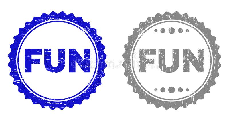 Grunge FUN Scratched Stamps. Grunge FUN stamp seals isolated on a white background. Rosette seals with grunge texture in blue and gray colors. Vector rubber stock illustration