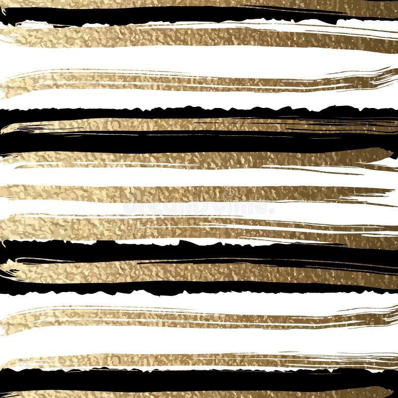 Grunge futuristische die achtergrond door borstel wordt getrokken De gouden verven en de zwarte inkt leiden tot abstract gestreep vector illustratie