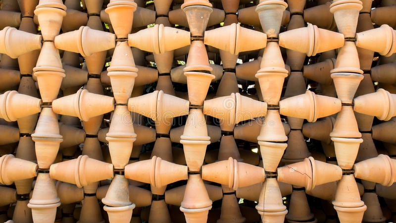Grunge gamla Clay Flowerpot Connected Pattern som används som bakgrundstextur arkivbilder
