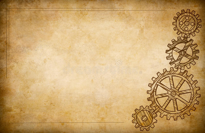 Download Grunge Gears And Cogs Drawing Background Stock Photo - Image: 24990080