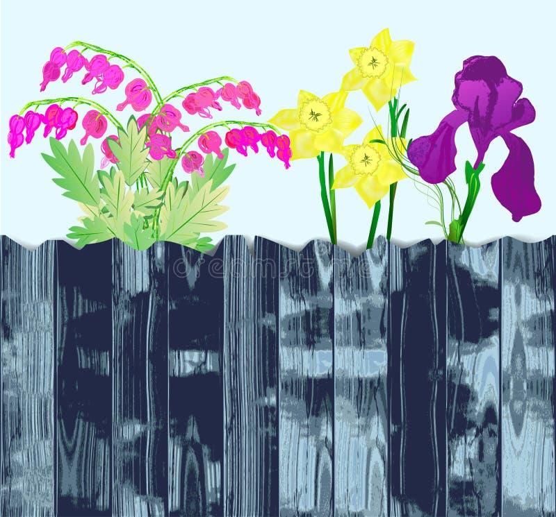 Grunge gebroken omheining met bloemen royalty-vrije illustratie