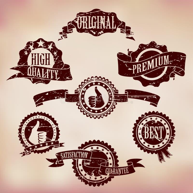 Grunge Gekraste Kentekens vector illustratie