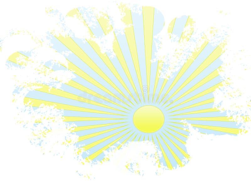 Grunge gelbe Sonnestrahlen im blauen Himmel stock abbildung