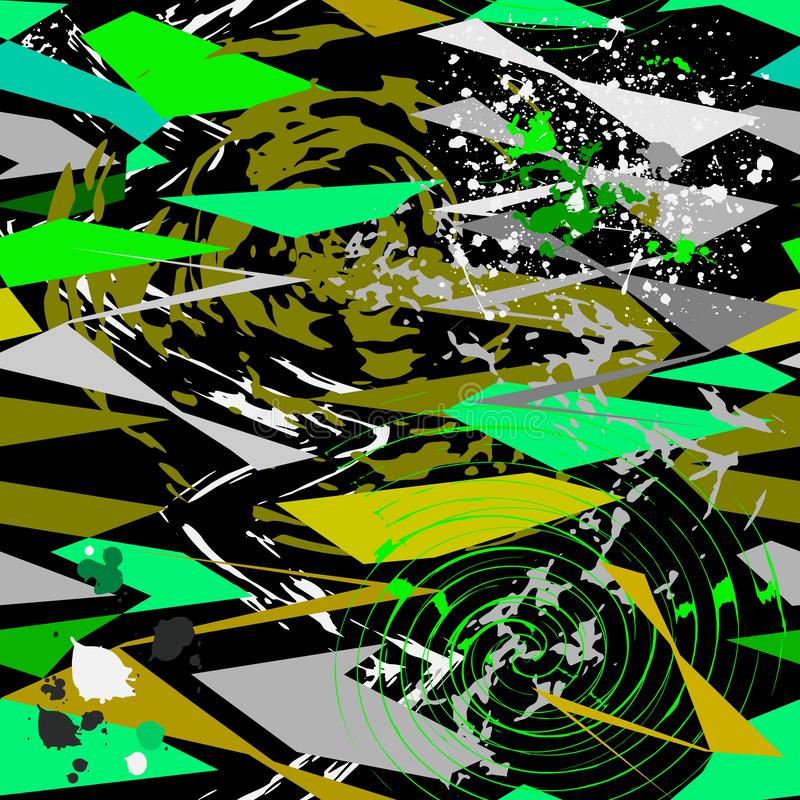 Grunge geometrisch abstract vector naadloos patroon In stedelijk stock illustratie