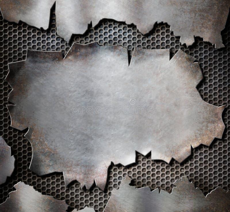 Grunge gescheurde metaalplaat als stoom punkachtergrond stock illustratie