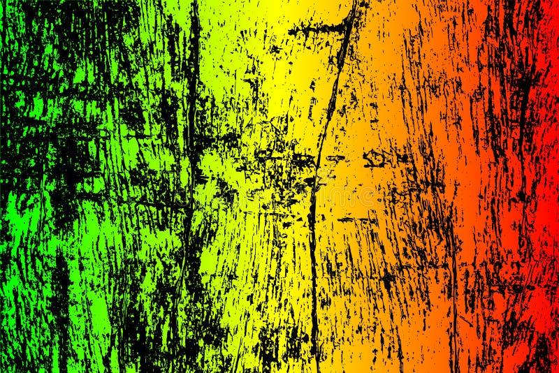 grunge geschilderde gekraste textuurachtergrond EPS10 illustratiereggae kleurt groen, geel, rood royalty-vrije stock afbeelding