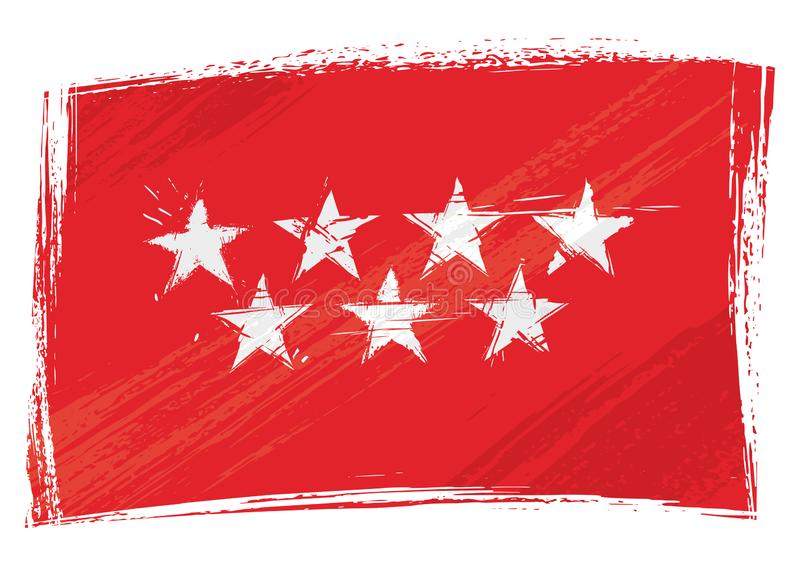 Grunge geschilderde Gemeenschap van de vlag van Madrid vector illustratie