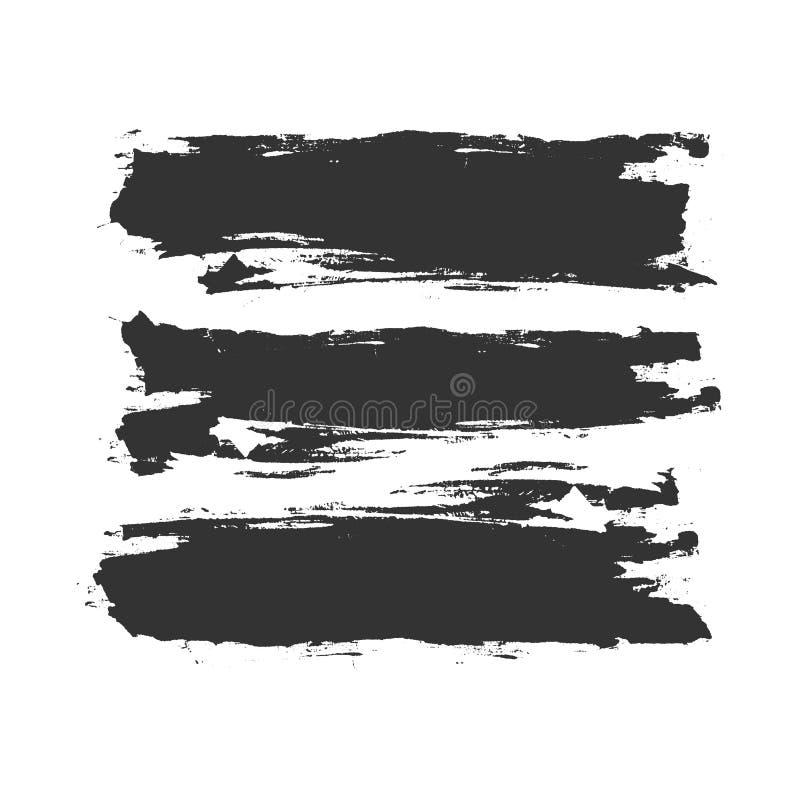 Grunge Gesmeerde Verf of Inktborstelslagen stock illustratie