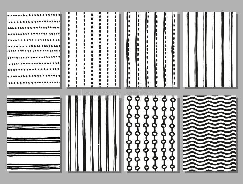 Grunge gestreepte en gestippelde vectorhand getrokken patronen vector illustratie