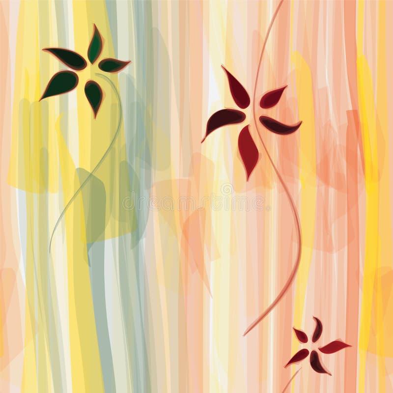 Grunge gestreiftes vertikales nahtloses mit Blumenmuster lizenzfreie abbildung