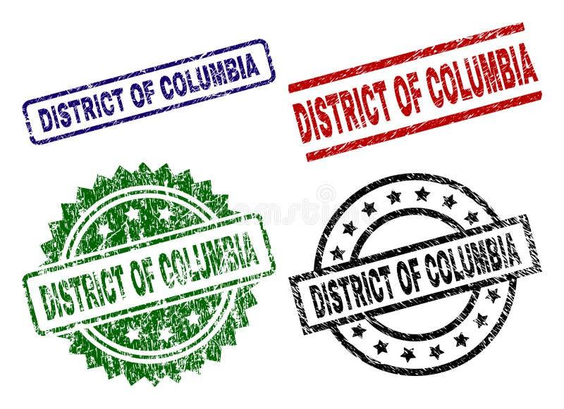 Grunge Geweven DISTRICT VAN de Zegelverbindingen van COLOMBIA vector illustratie