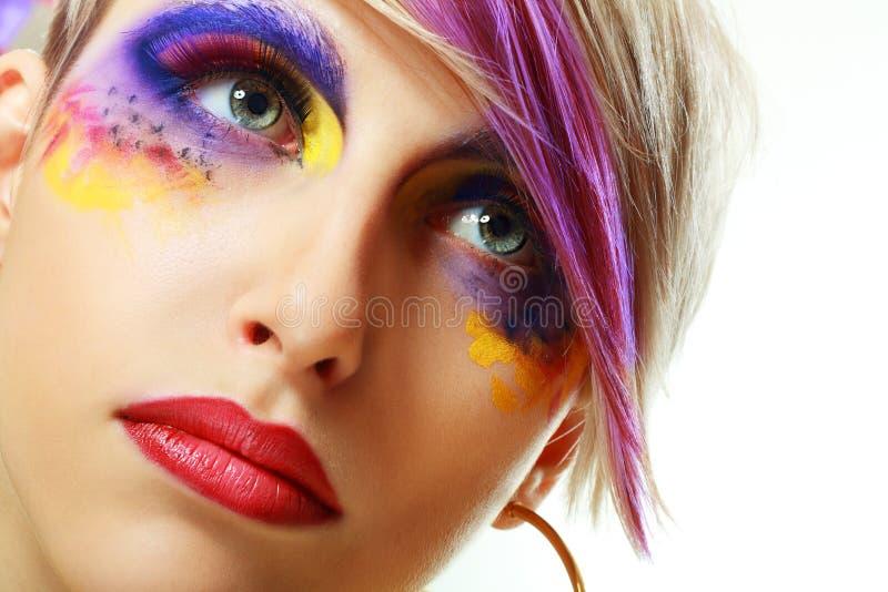 Grunge girl close up. Gorgeous Young Grunge model beautiful woman with perfect art make up and long false eyelashes stock image