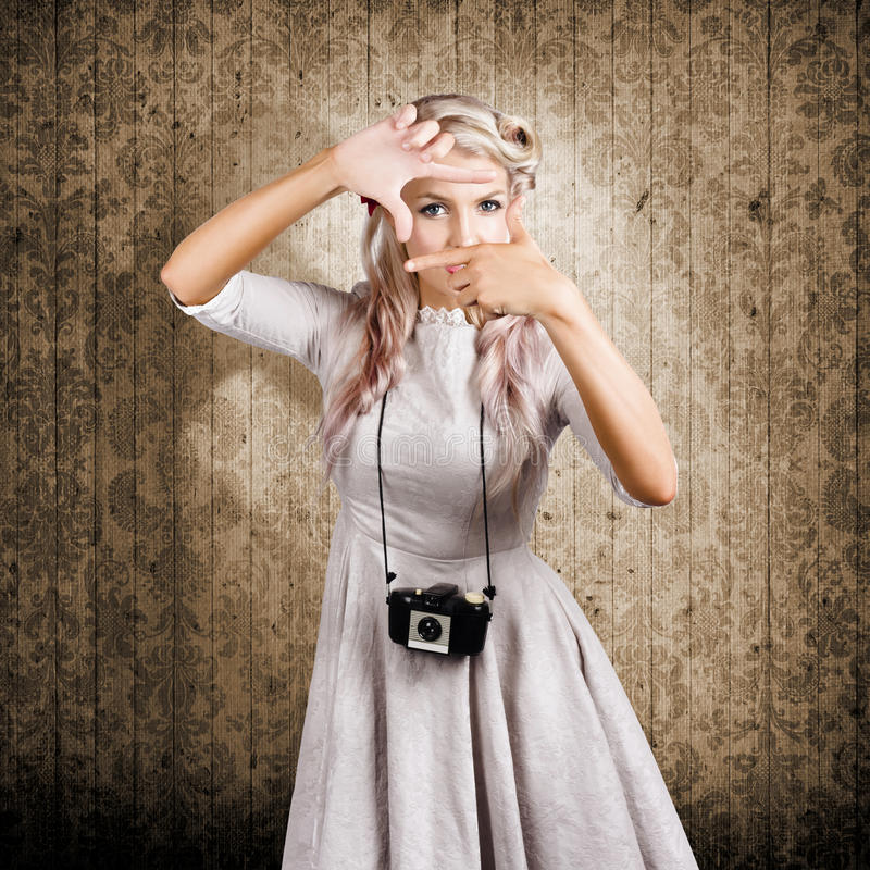 Grunge Girl With Retro Film Camera Concept Framing Stock Image ...