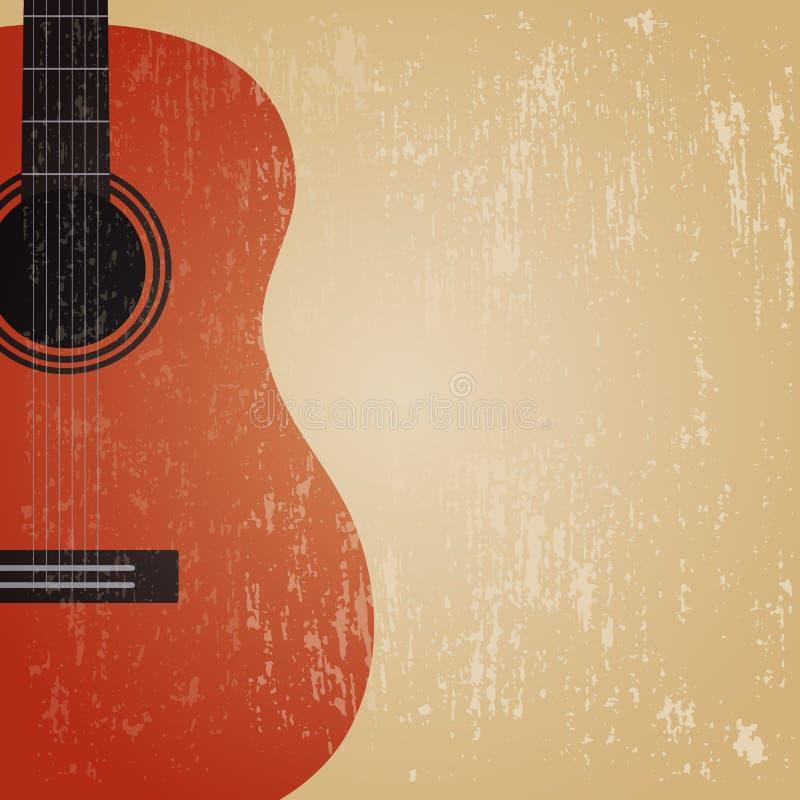 Grunge gitarr royaltyfri illustrationer