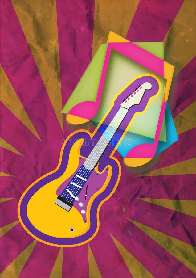 Grunge gitary muzyki notatka ilustracji