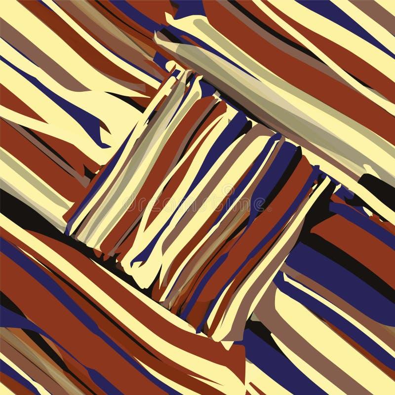 Grunge gjorde randig den diagonala geometriska sömlösa modellen i blått, svart, brunt, gulingfärger royaltyfri illustrationer