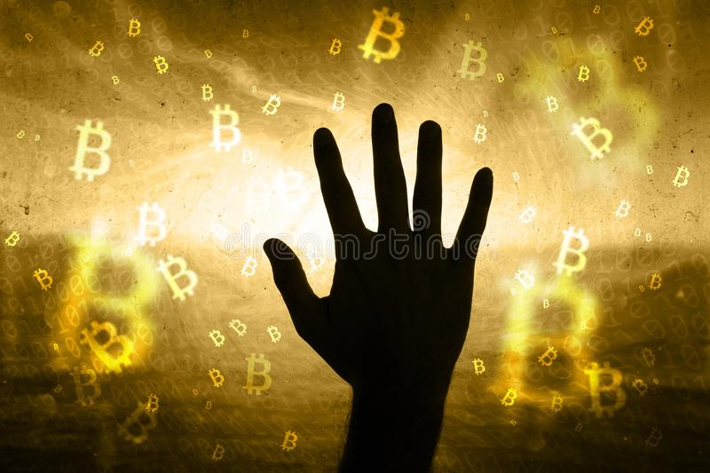 Man hand on abstract bitcoin network background royalty free stock image