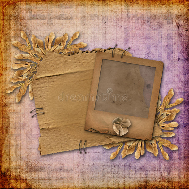 Grunge glijdt vervreemd karton met gebladerte royalty-vrije illustratie