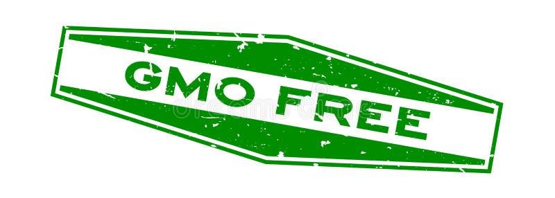 Grunge GMO słowa sześciokąta zielona bezpłatna pieczątka na białym tle ilustracja wektor
