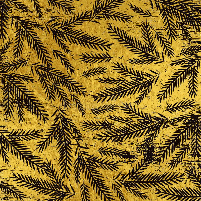 Grunge golden christmas background with black alder twigs, vect. Or illustration royalty free illustration