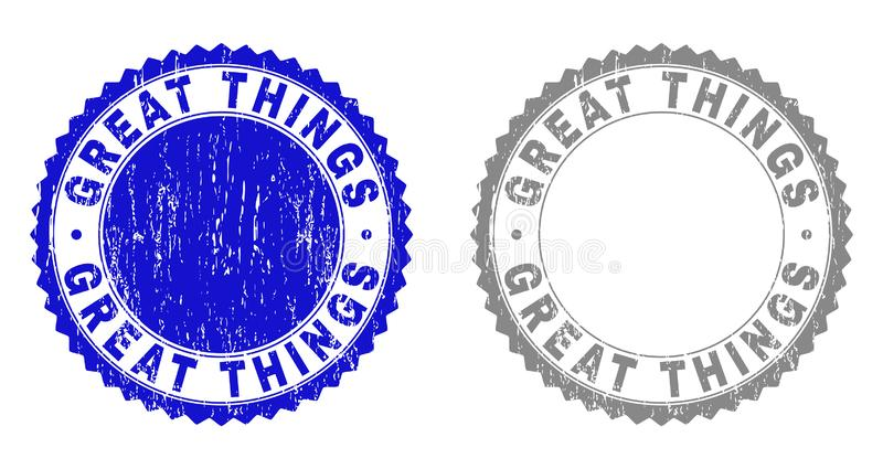 Grunge GREAT THINGS Textured Stamps royalty free illustration