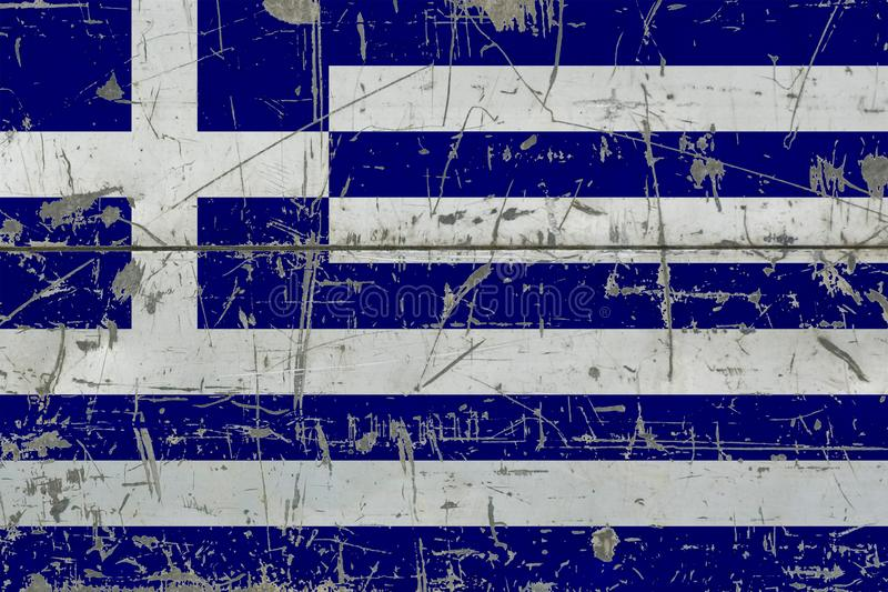 Grunge Greece flag on old scratched wooden surface. National vintage background royalty free illustration