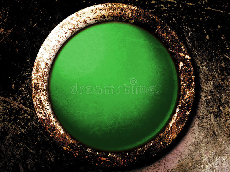 Grunge Green Button. This is a vintage grunge green button on a rusty surface royalty free illustration