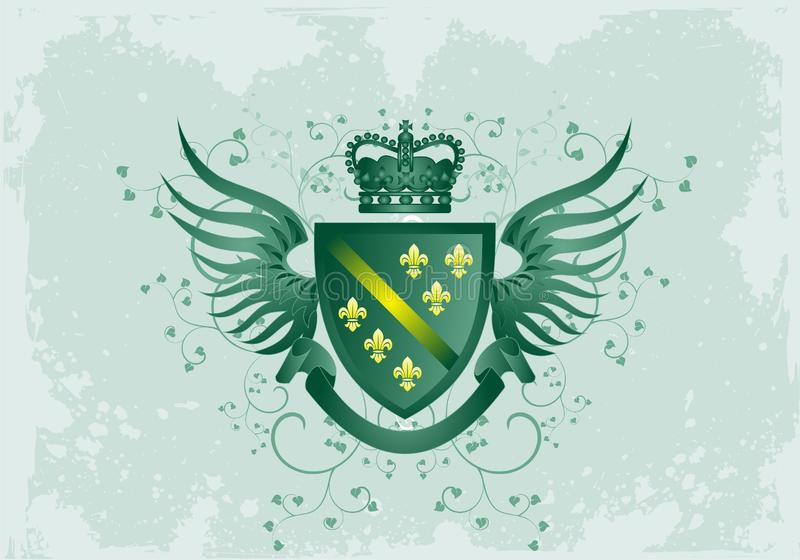 Grunge green coat of arms with Fleur-de-lis royalty free stock photos