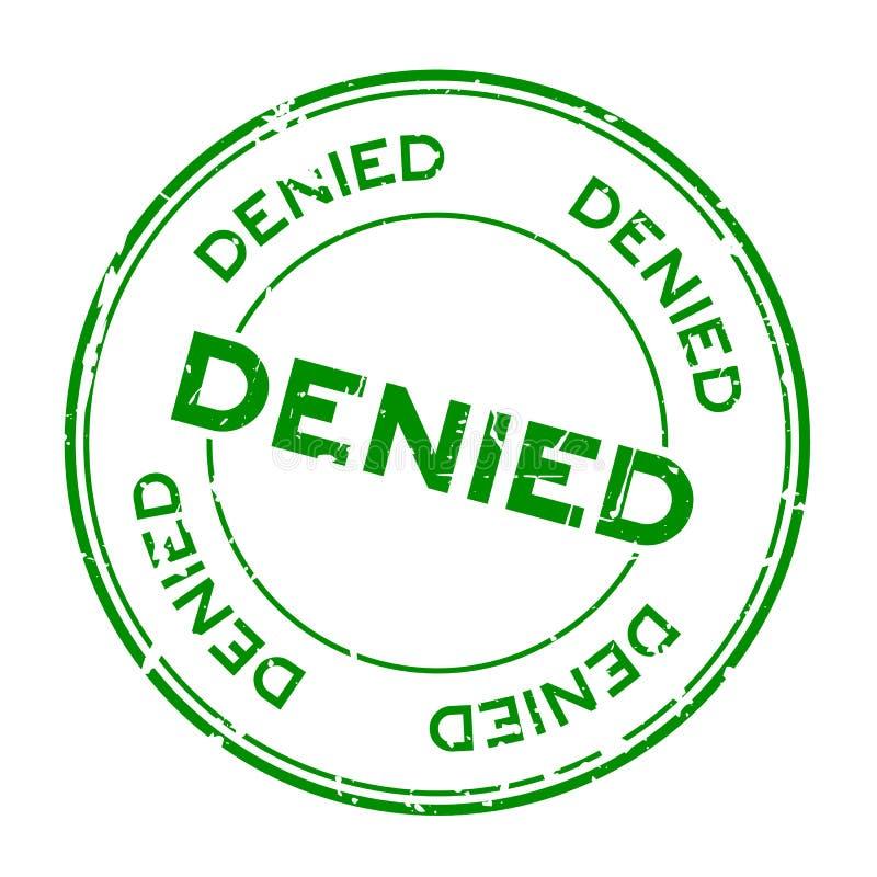 Grunge green denied round rubber stamp on white background vector illustration