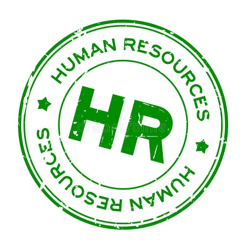 Grunge green HR word Abbreviation of Human Resources round rubber stamp on white background vector illustration