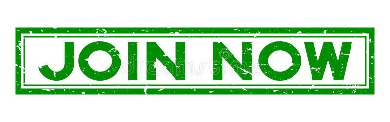 Grunge green join nu woord vierkant rubberen stempel op witte achtergrond royalty-vrije illustratie
