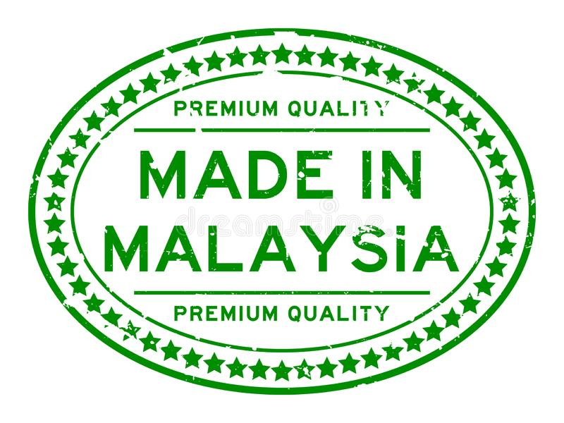 Grunge green premiumq quality made in Malaysia oval rubber business stamp on white background stock illustration