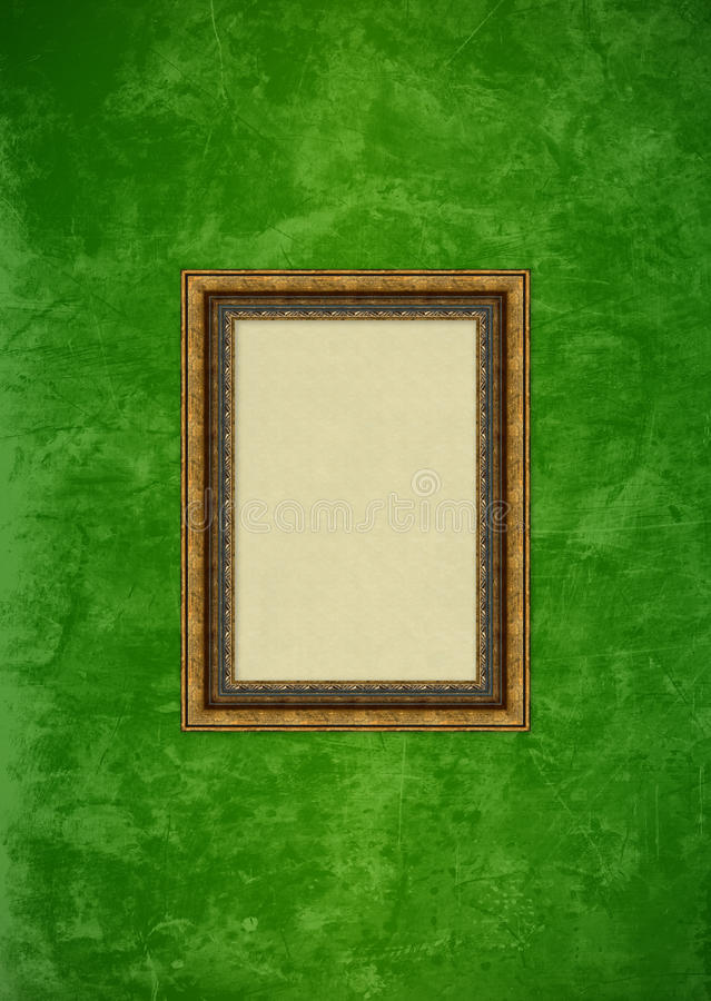 Grunge green stucco wall with empty picture frame royalty free stock photography