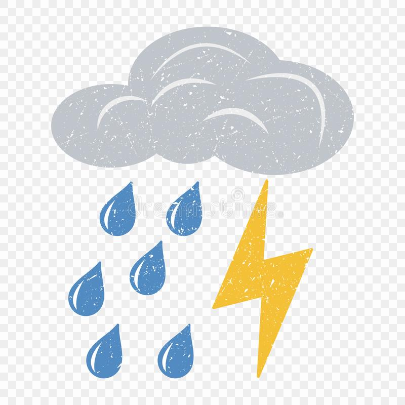 Grunge grey cloud with lightning and rain icon. Cartoon illustration of clouds with lightning and rain vector icon for web. The concept of a bad mood vector illustration