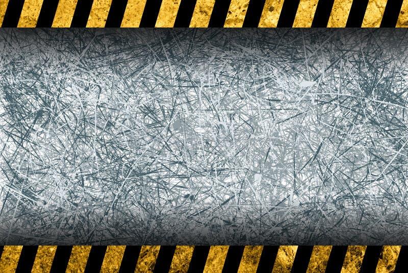 Grunge grijze achtergrond met waarschuwingsstrepen vector illustratie