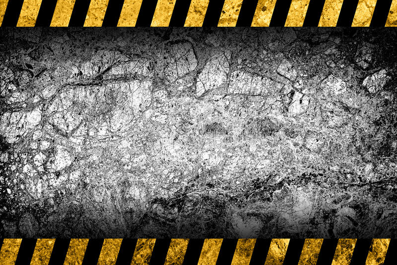 Grunge grijze marmeren achtergrond met waarschuwingsstrepen royalty-vrije illustratie