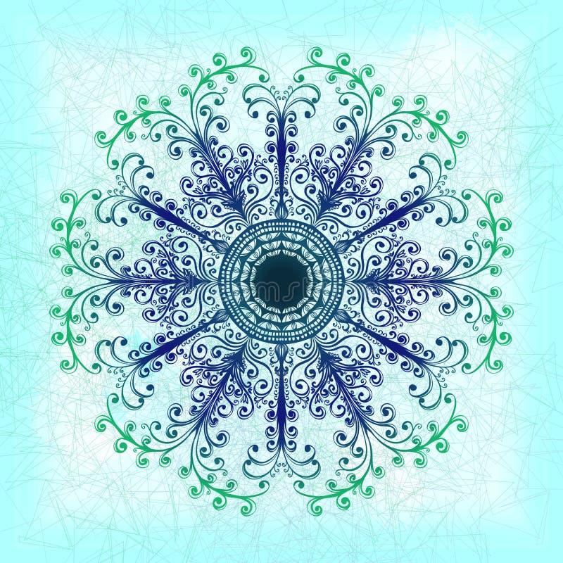 Grunge groen bloemenornament stock illustratie