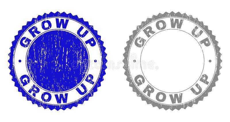 Grunge GROW UP Scratched Stamp Seals stock illustration