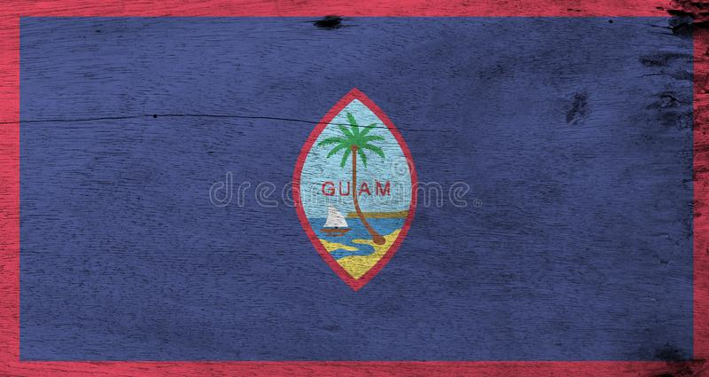 Grunge Guam flagi tekstura, zmrok i foka Guam, - błękitny tło z cienką czerwieni granicą royalty ilustracja