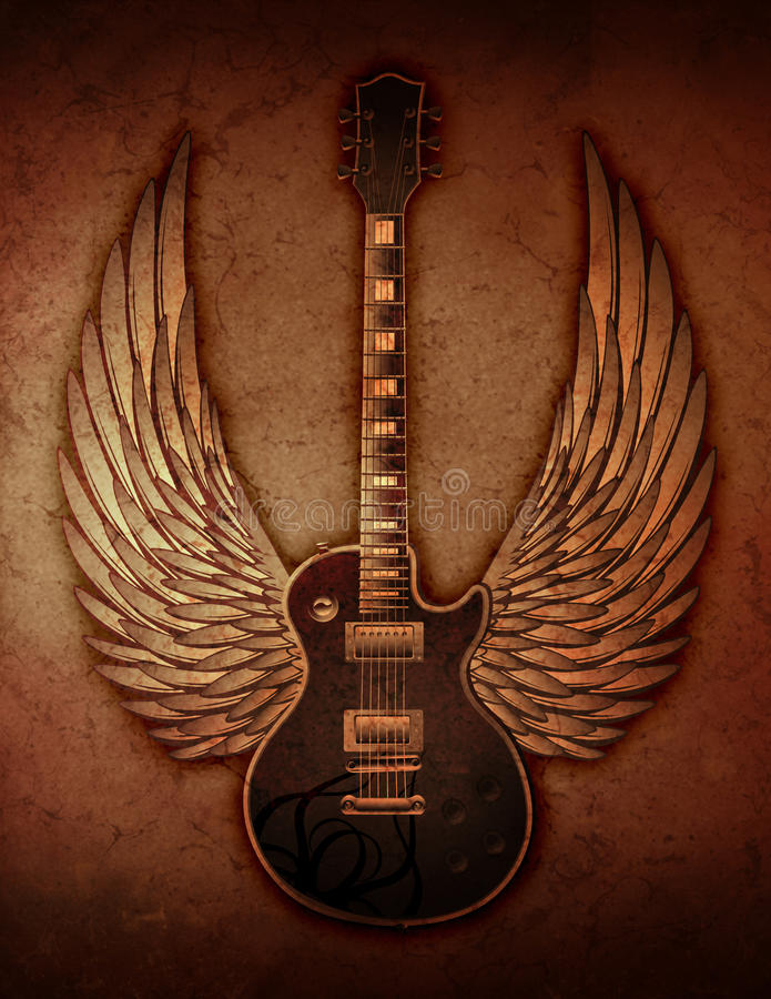 Grunge Guitar with Wings royalty free illustration