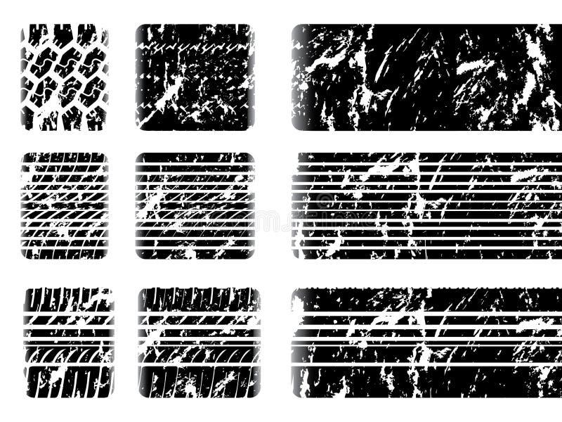 Grunge gummihjuldäckmönster med sladdningfläcken stock illustrationer