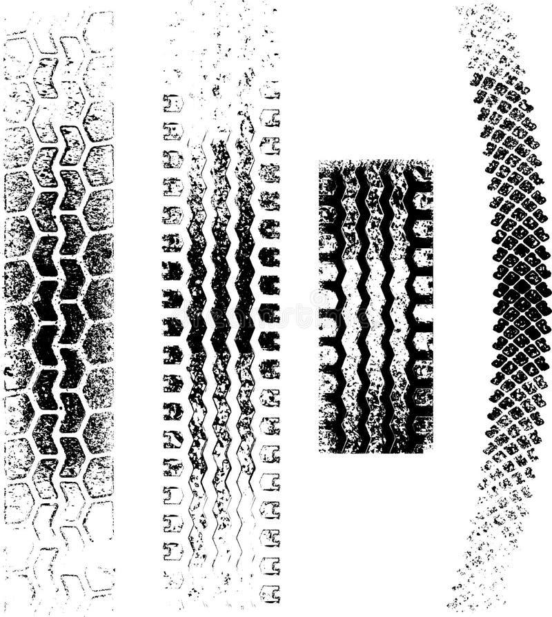 Grunge Gummireifenspuren lizenzfreie abbildung